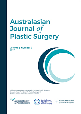 Cover of journal with words 'Australasian Journal of Plastic Surgery' volume 3 number 2 2020