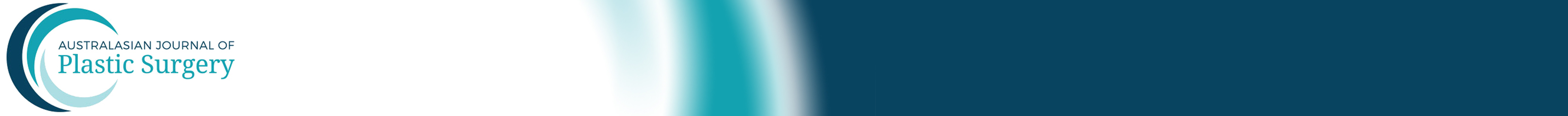 A long image showing a logo with the words 'Australasian Journal of Plastic Surgery) on the left side and three stripes of colour on the right fading out
